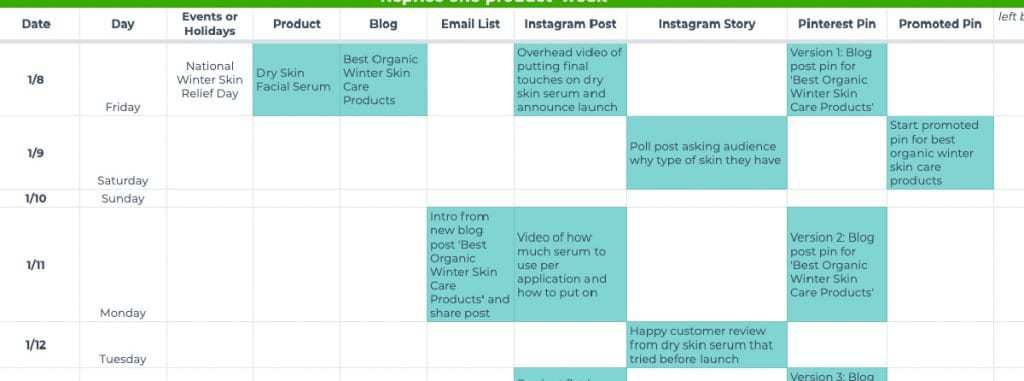How to fill in a content calendar with promotional tasks based on a main event.