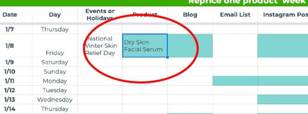 Visual of how to use a holiday (such as National Winter Skin Relief Day) to help decide on a product launch date (for example, Dry Skin Facial Serum).