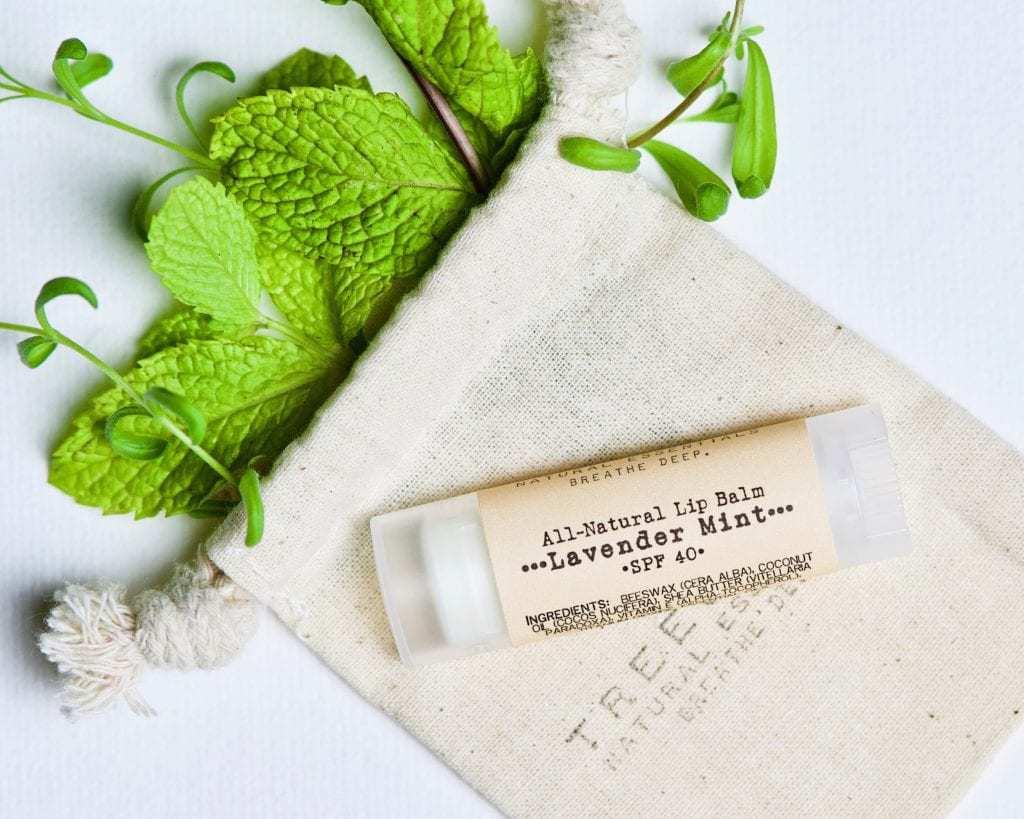 Lavender Mint Organic Lip Balm on a cotton muslin bag