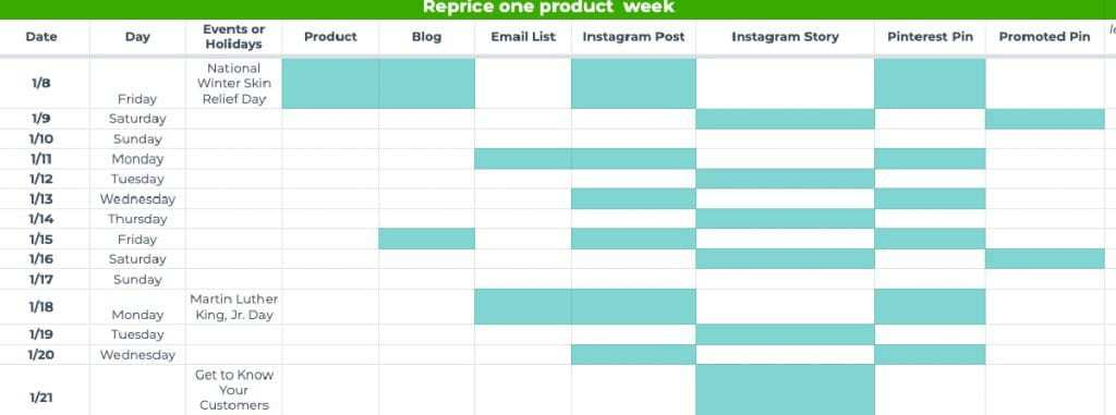 Blocking out due date cells on a content calendar spreadsheet.