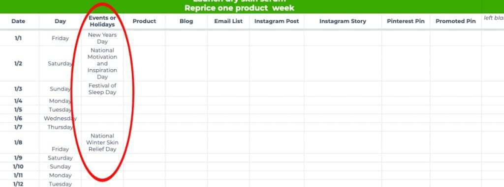 Visual example of adding skin care and beauty holidays into a content calendar spreadsheet.