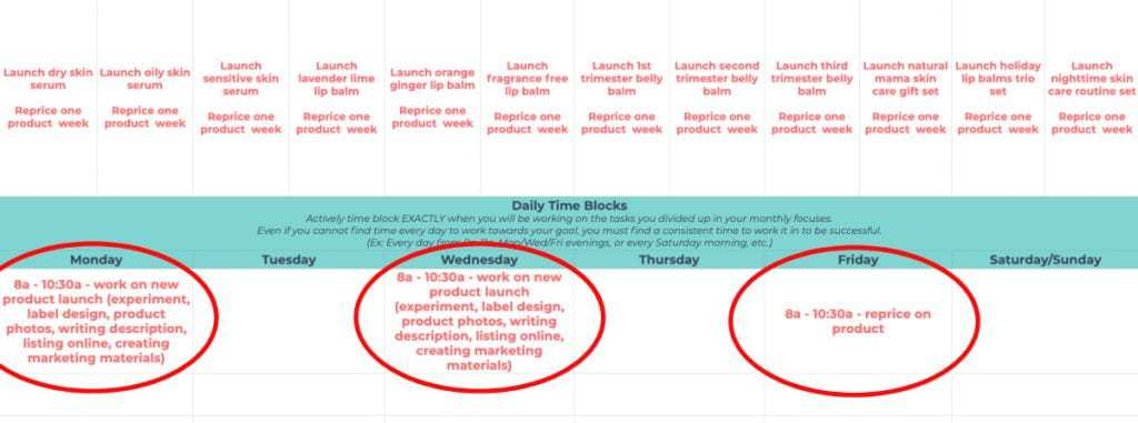 How to create a time block schedule out of annual goals.