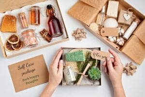 Indie Skin Care Business Owner putting together a wellness package