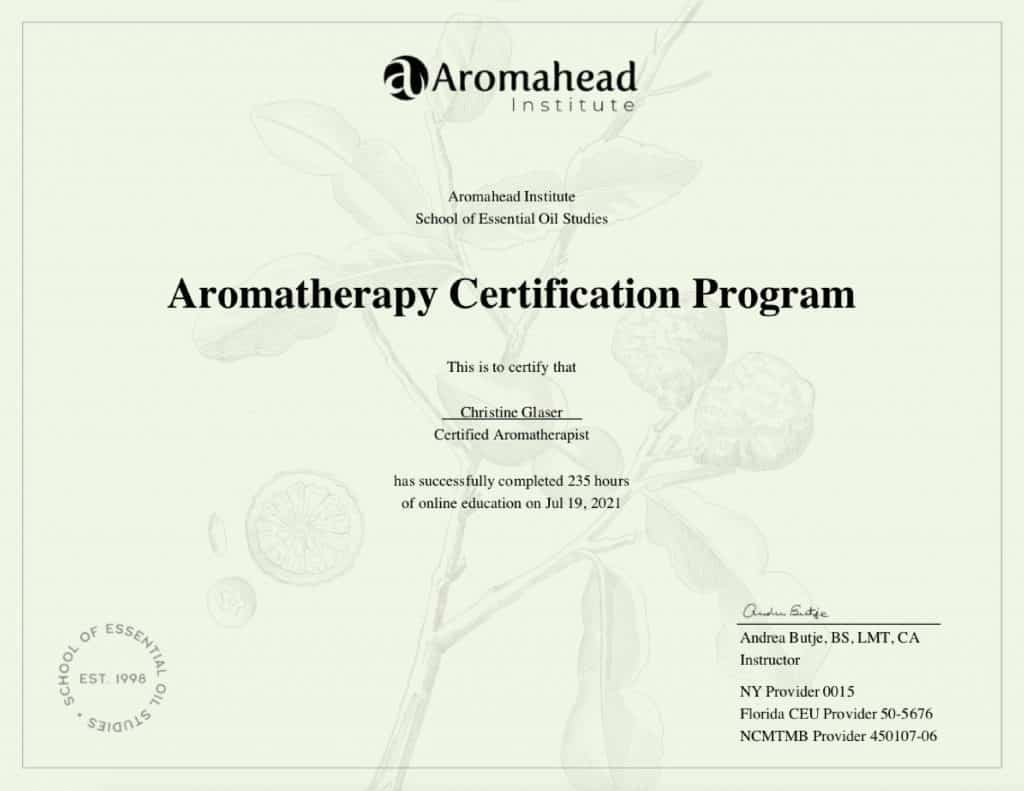 Christine Glaser, C.A. Aromatherapy Certification certificate