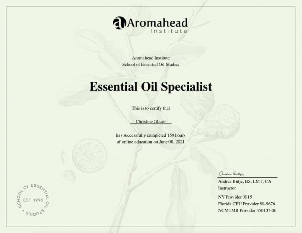 Christine Glaser, C.A. Essential Oil Specialist Certificate