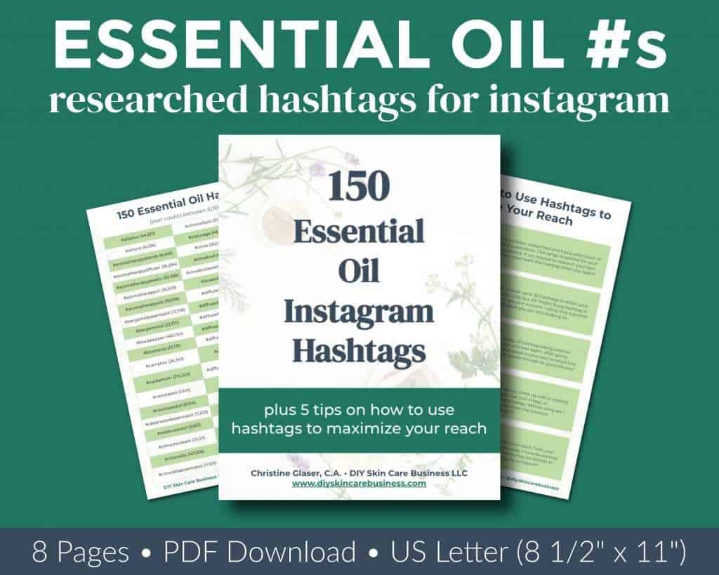 Overview of researched essential oil Instagram hashtags ebook.