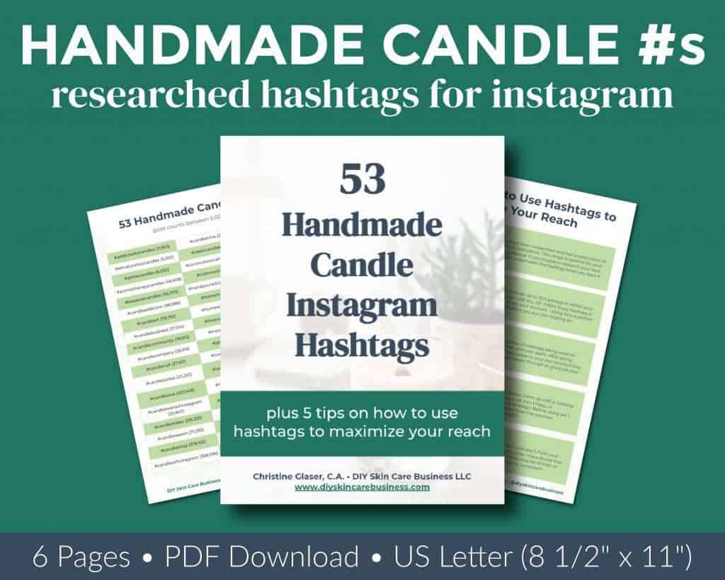 Overview of researched handmade candle Instagram hashtags ebook.