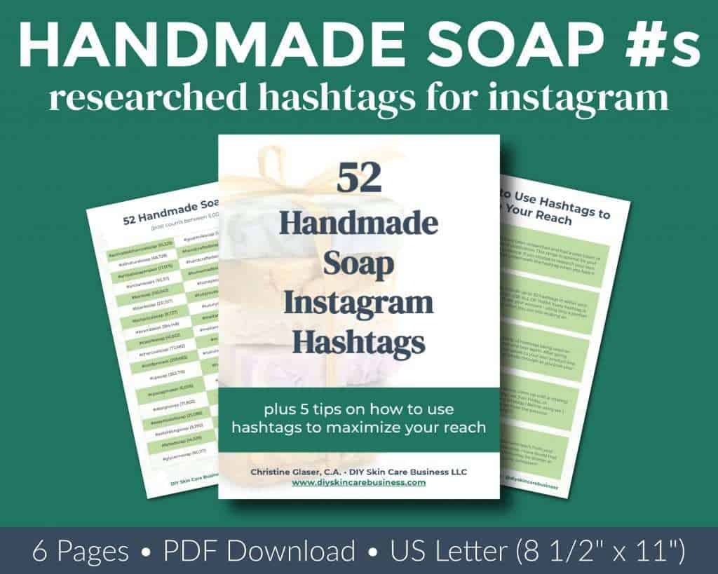 Overview of researched handmade soap Instagram hashtags ebook.