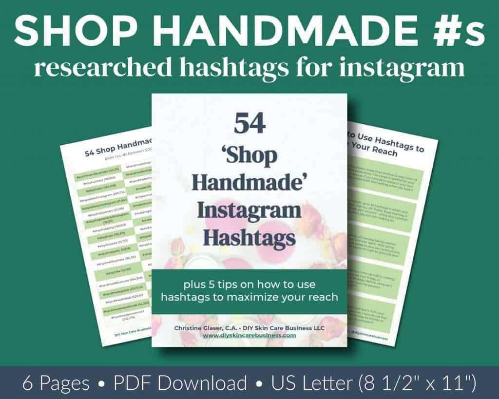 Overview of researched shop handmade Instagram hashtags ebook.