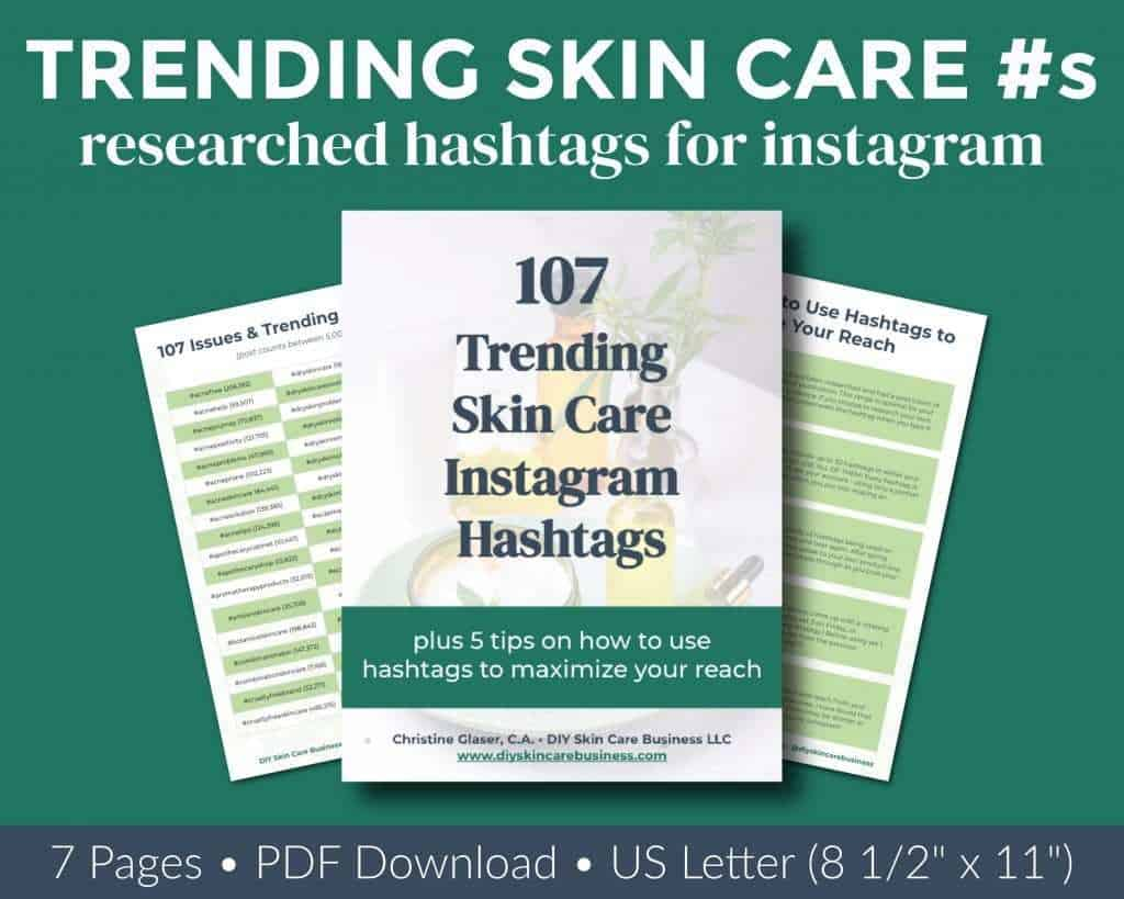 Overview of researched trending skin care Instagram hashtags ebook.