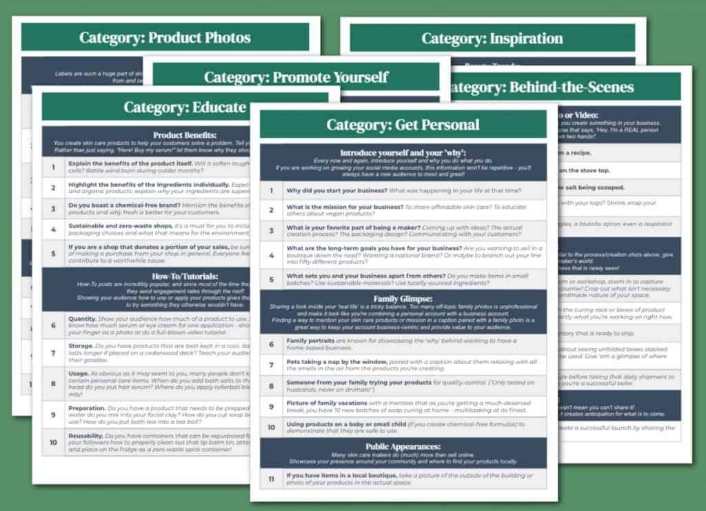 Skin Care Social Media Content Calendar Categories
