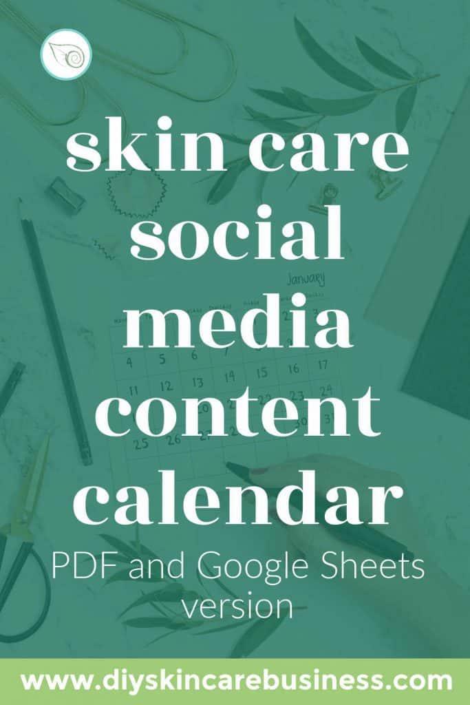 Skin Care Social Media Content Calendar pin